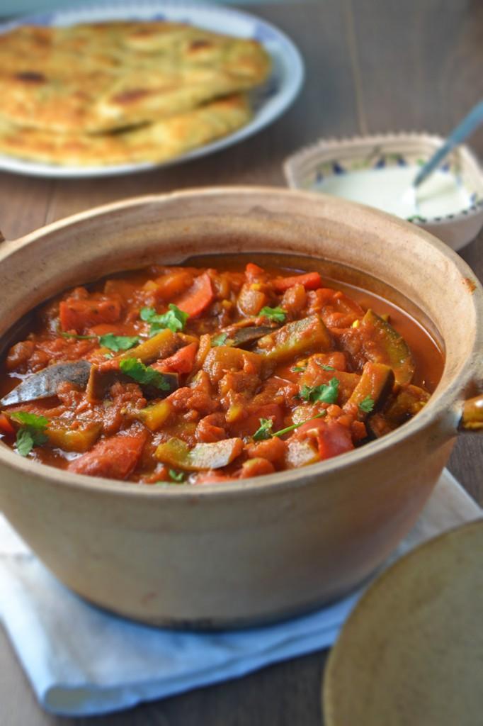Aubergine & Red Pepper Curry