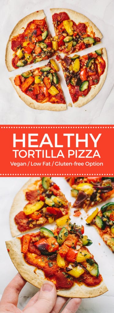 Vegan Tortilla Vegetable Pizza
