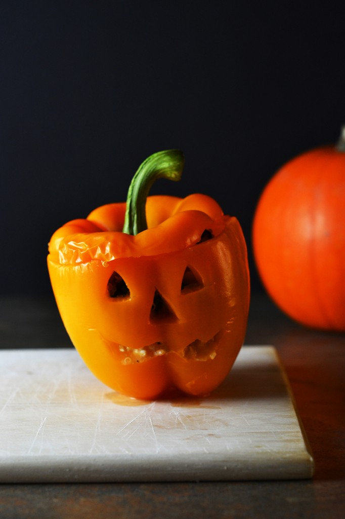 Spooky Stuffed Peppers {Vegetarian, Gluten-free}