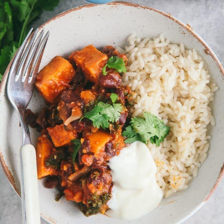 Spicy Bean & Sweet Potato Chilli