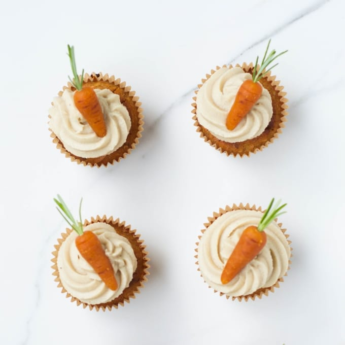 Vegan + Gluten-free Carrot Cupcakes with Marzipan Carrots
