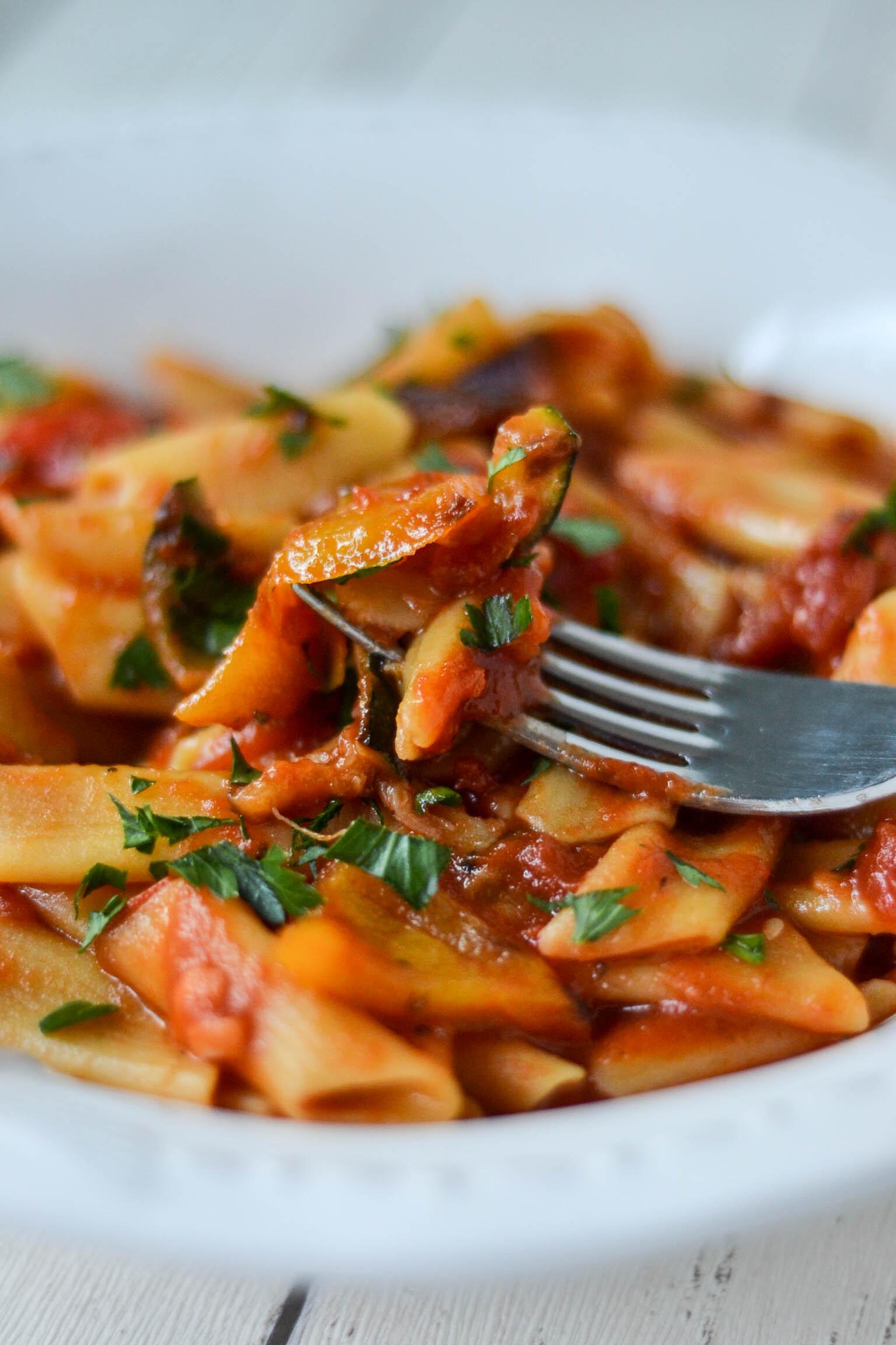 penne arrabiata with grilled vegetables wallflower kitchen