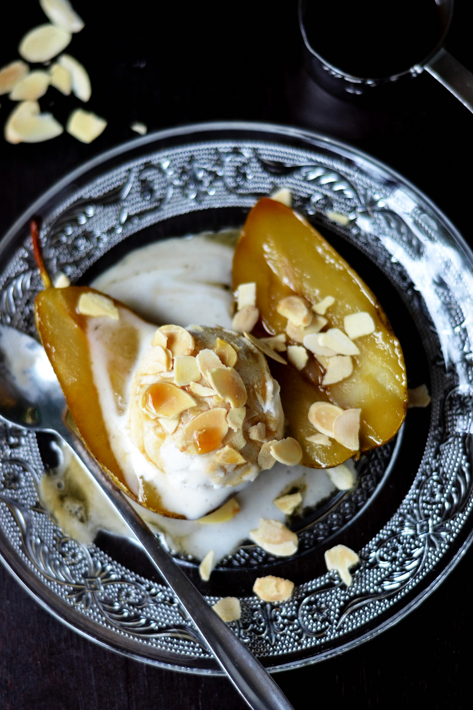 Grilled Pears with Amaretto & Ice Cream {Vegan & GF}