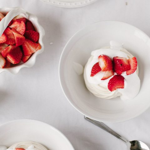 Vegan Meringue Nests with Strawberries & Cream