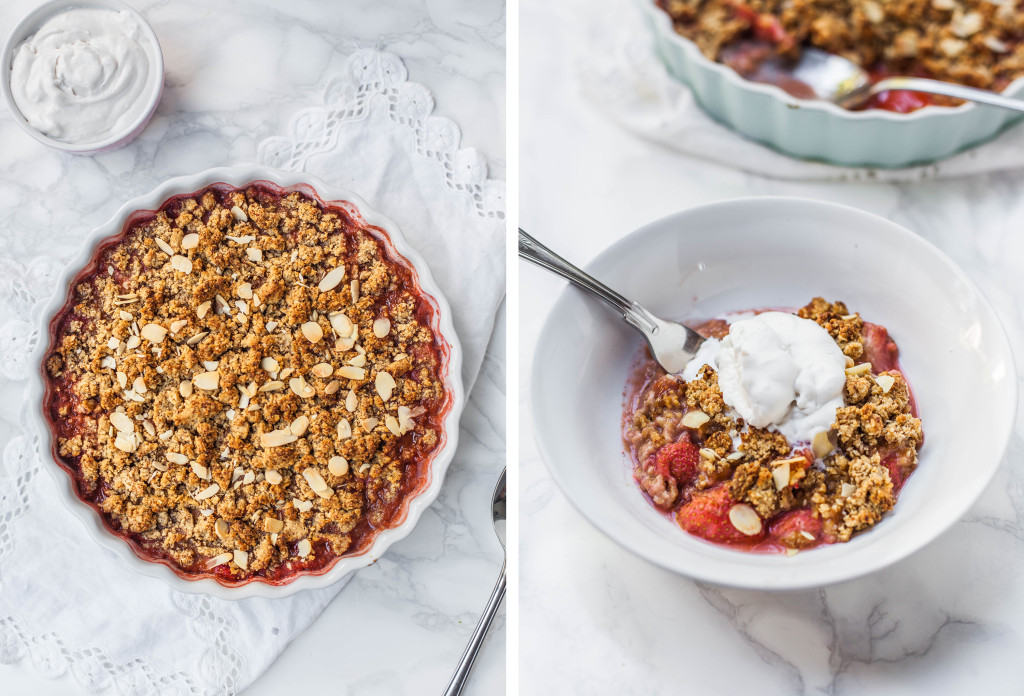 Flourless Strawberry, Almond & Amaretto Crumble