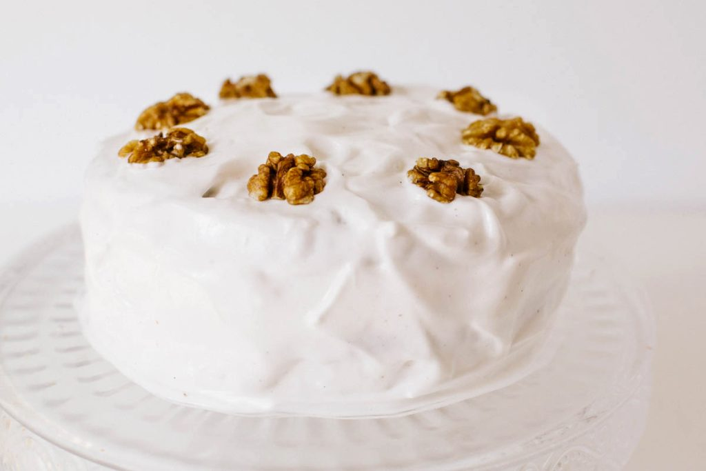 Vegan Frosted Walnut Cake