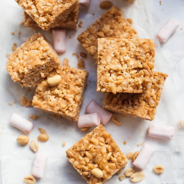 Vegan Peanut Butter & Marshmallow Rice Krispie Treats