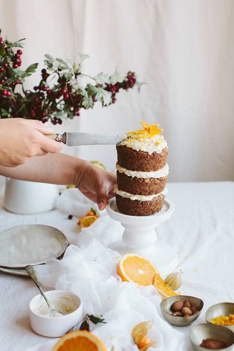 """Mini Pumpkin Cake with Almond """"Cream Cheese"""" Frosting"""