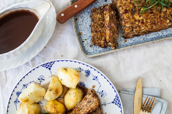 Lentil Roast with Balsamic Onion Gravy (vegan & gluten-free)