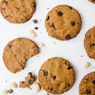 Low Carb Peanut Flour Chocolate Chip Cookies (Vegan / Grain free / Sugar free)