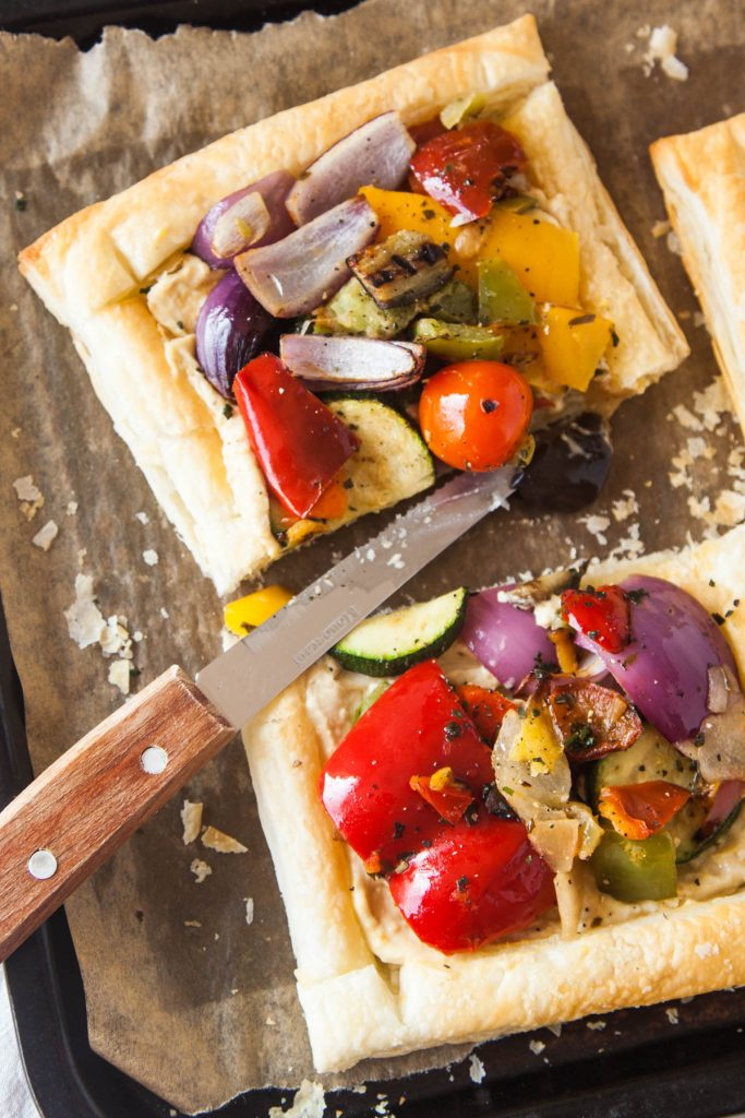 Mediterranean Vegetable & Hummus Tart - Wallflower Kitchen