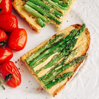 Vegan Asparagus Eggy Toast