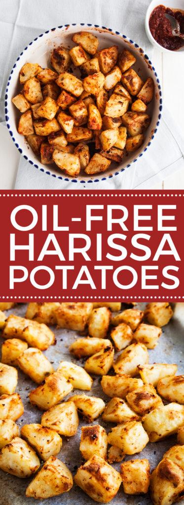 Crispy Oil-Free Harissa Potatoes