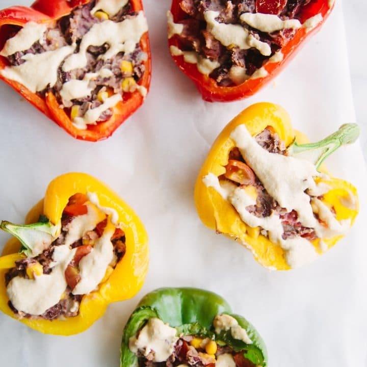 Burrito Stuffed Peppers (Vegan + GF)
