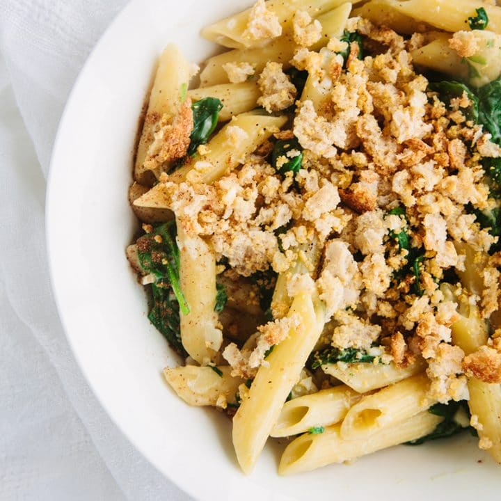 Creamy Spinach Pasta with Cheesy Garlic Crumbs