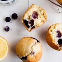 Low Fat Lemon Blueberry Muffins (Vegan + GF Option)