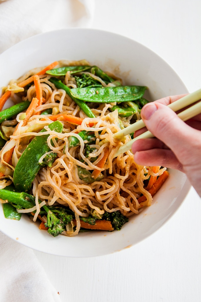 Shirataki Noodles with Almond Butter Sauce (Vegan + Paleo)