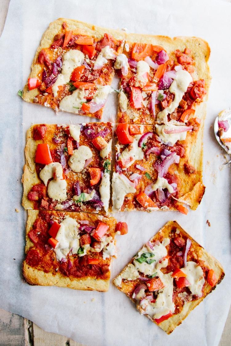 Healthy Pizza (Vegan + Gluten-free) - Socca base