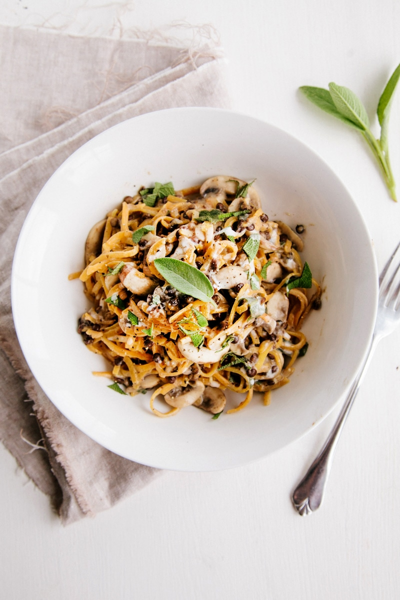 Butternut Noodles with Creamy Garlic Mushrooms & Lentils (Vegan + GF)