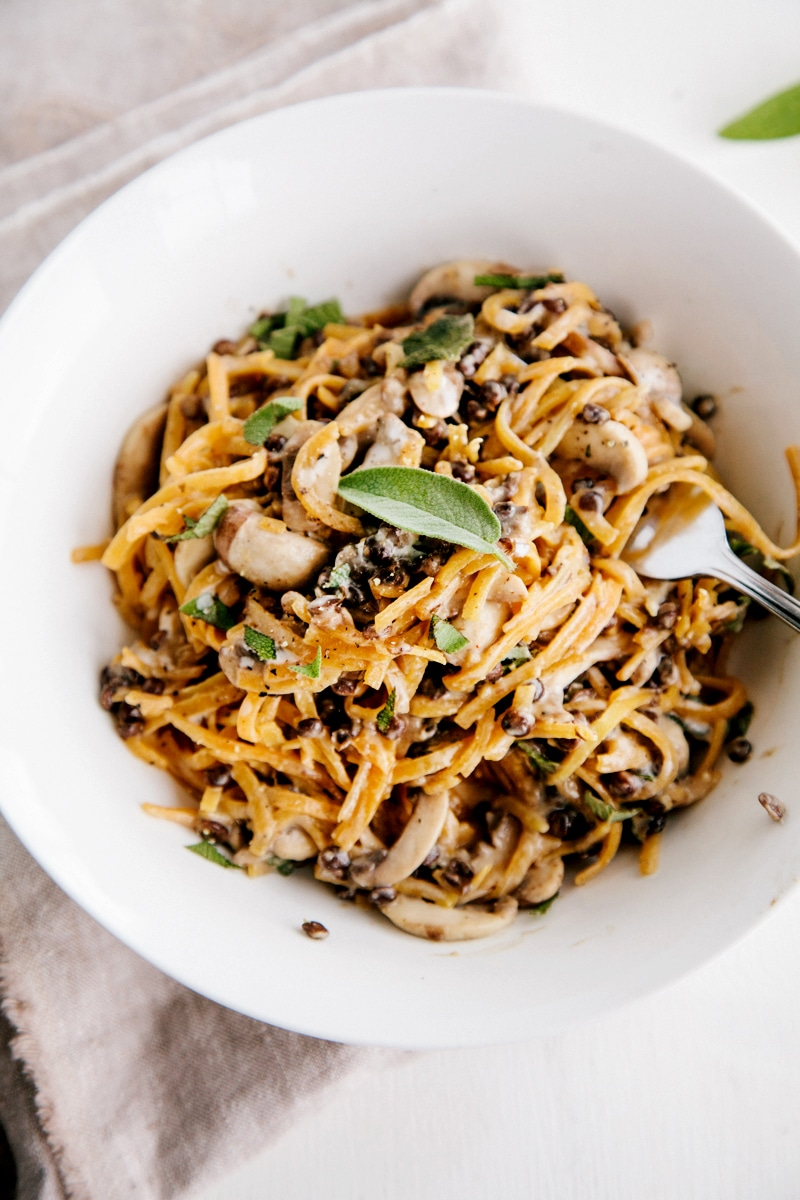 Spiralized Butternut Squash Noodles with Creamy Garlic Mushrooms & Lentils (Vegan + Gluten-Free)