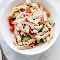 Greek Pasta Salad with Almond Feta (Vegan + GF)