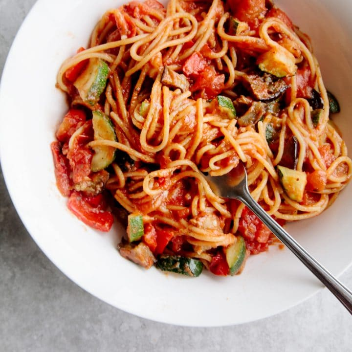 Ratatouille Spaghetti (Vegan + GF)