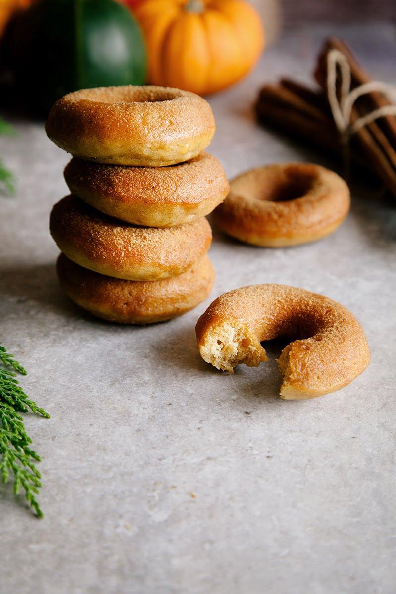 Vegan Baked Pumpkin Donuts with Cinnamon Sugar