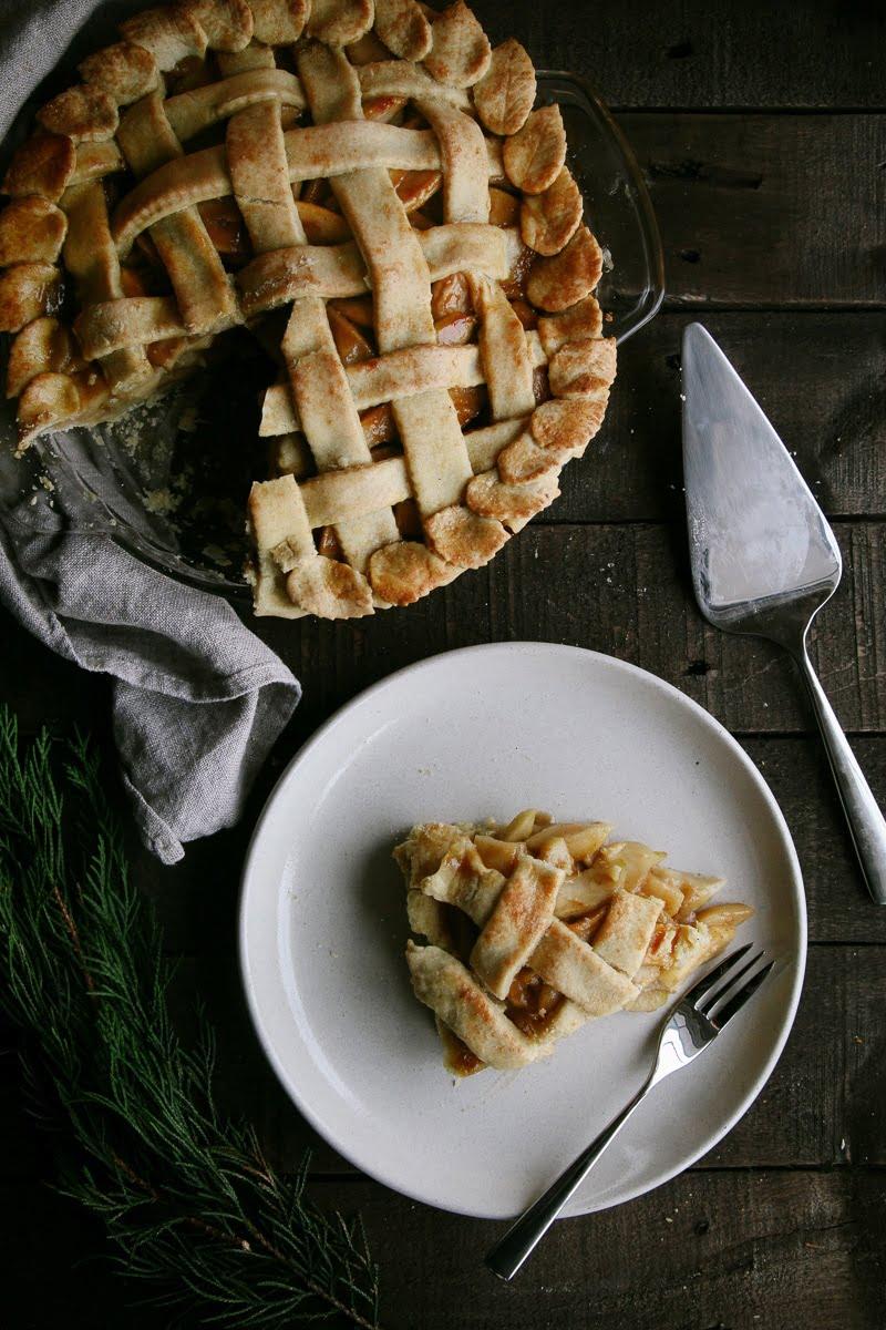 Vegan Apple Pie with Salted Caramel - Wallflower Kitchen
