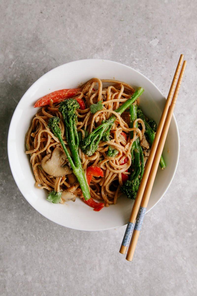 Vegan Spicy Peanut Noodle Stir Fry with Tenderstem, Peppers and Mushrooms