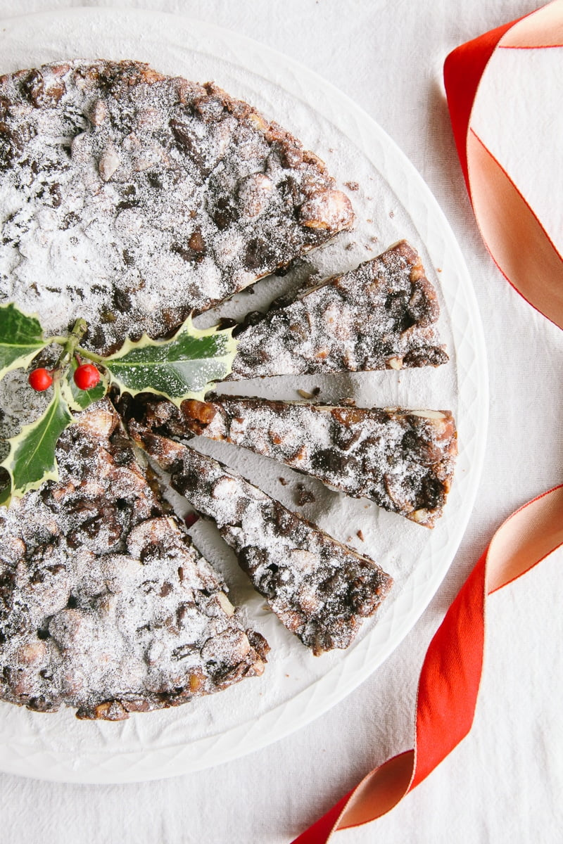 Vegan Panforte - A traditional Italian Christmas cake with fruits, nuts & chocolate!