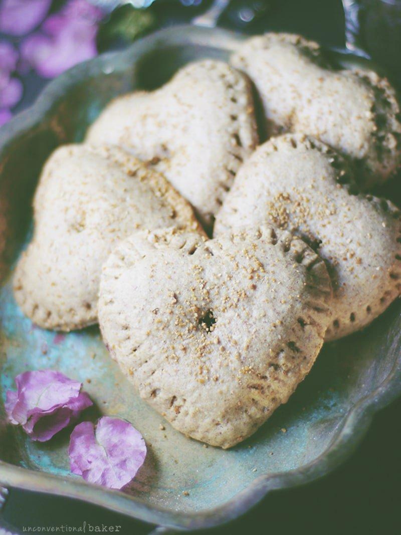 Raspberry Almond Hand Pies via unconventionalbaker.com