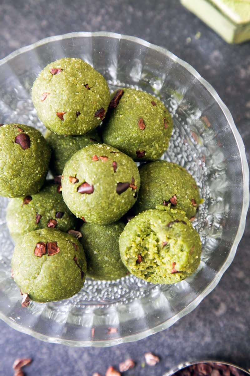 Matcha Mint Chocolate Chip Energy Bites
