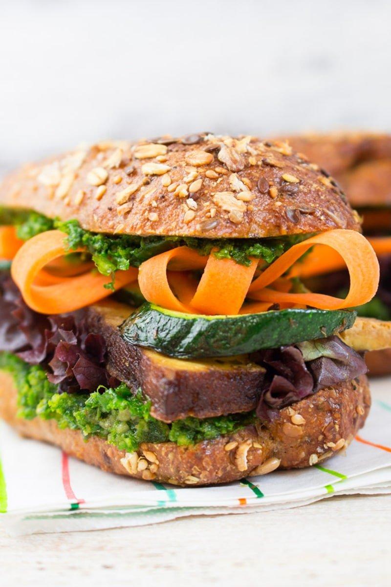 Tofu & Kale Pesto Sandwich via veganheaven.org