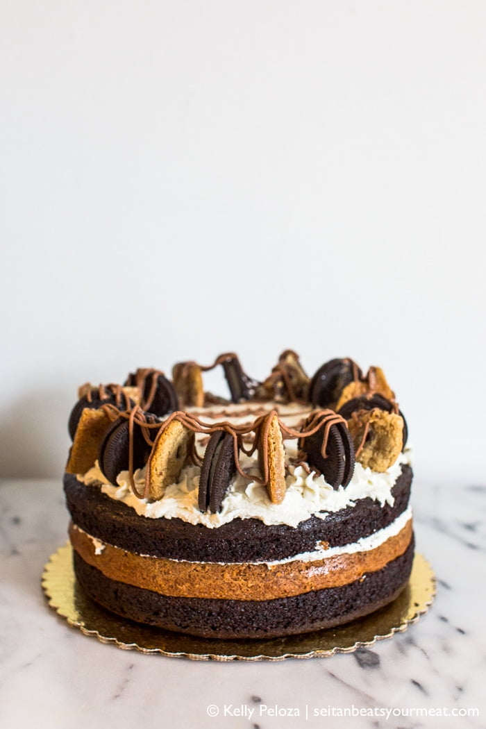 Triple Layer Bourbon Caramel Chocolate Chip Cookie Cake