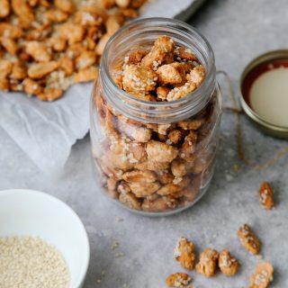 Easy Sesame Candied Peanuts (3 ingredients!)