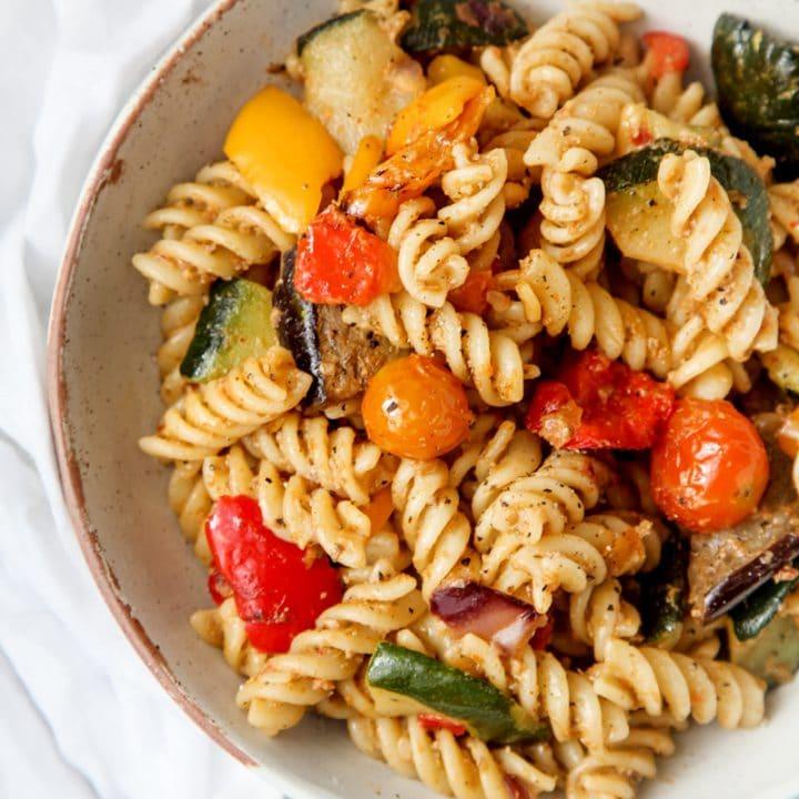 Veggie Pasta with Char-grilled Aubergine Pesto (Vegan + GF)
