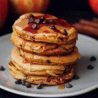 Fluffy Pumpkin Chocolate Chip Pancakes (Vegan)