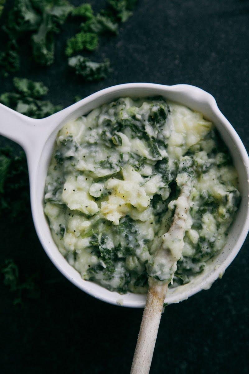 Colcannon: Dairy-free Irish Mashed Potato with Greens