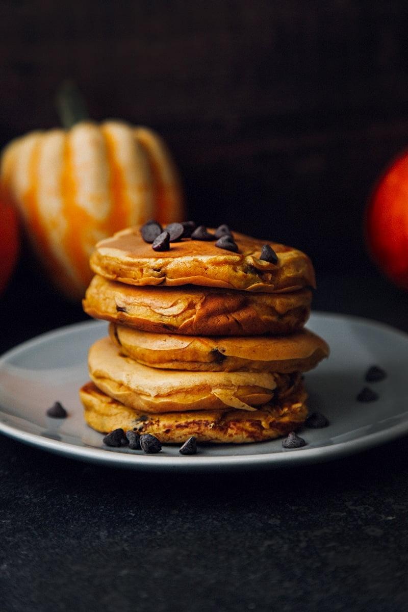 Vegan Pumpkin Pancakes with Chocolate Chips