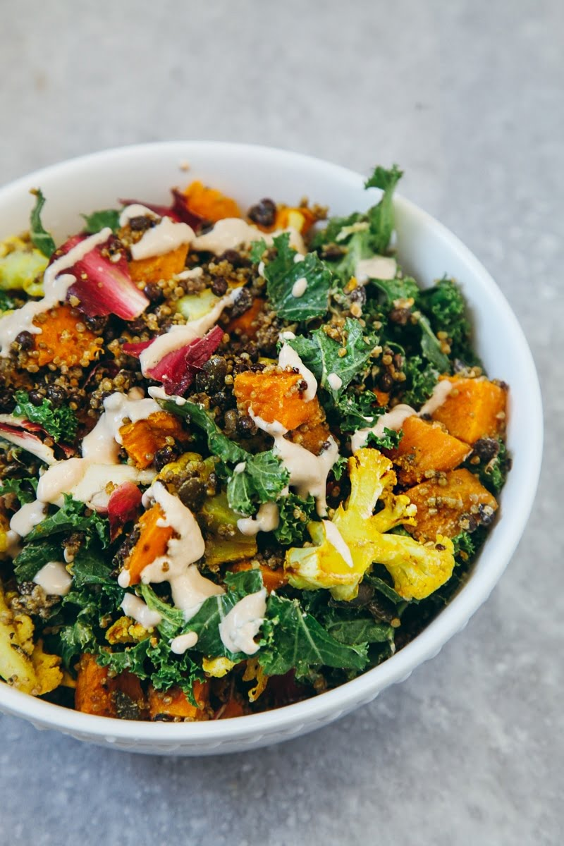 High Protein Salad with Roasted Veg