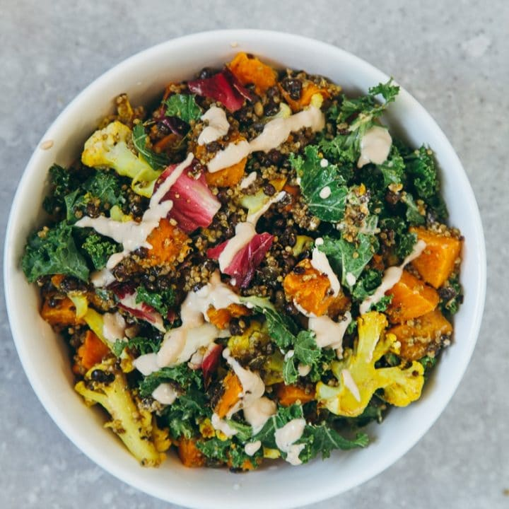 Roasted Veggie Quinoa Salad With Tahini Garlic Dressing Wallflower Kitchen