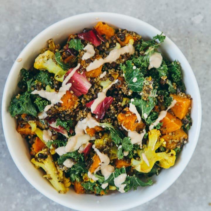 Vegan High Protein Salad with Tahini Dressing