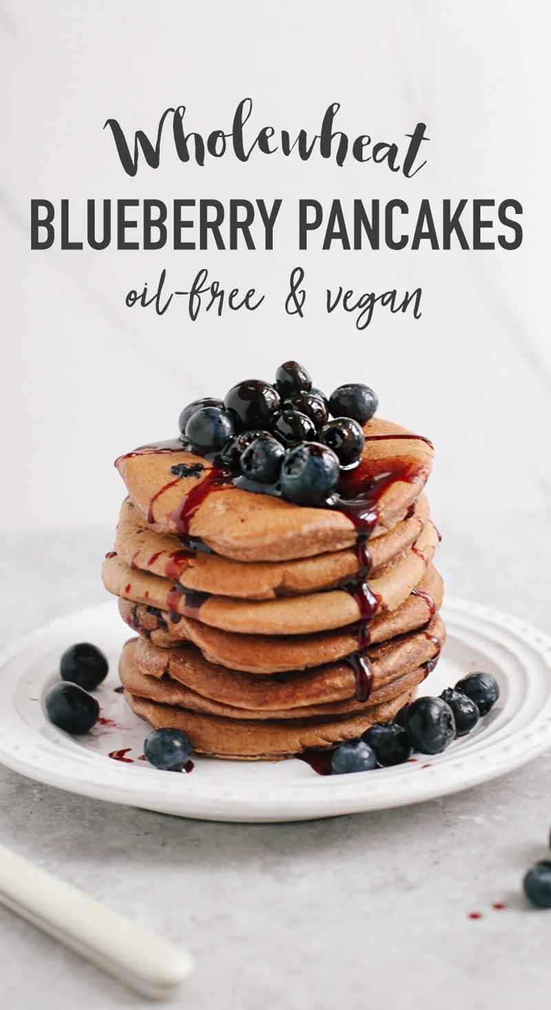Wholewheat Blueberry Pancakes (Oil-Free & Vegan)