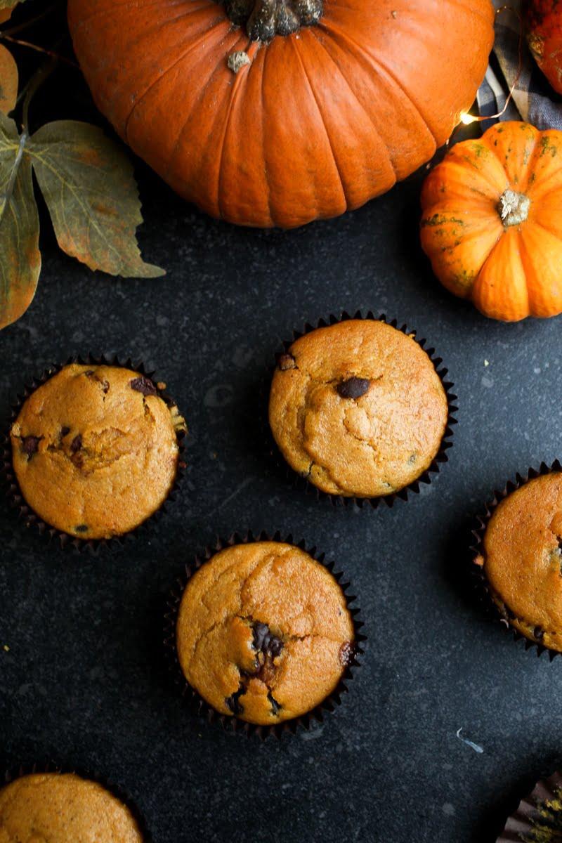 #Vegan Chocolate Chip Pumpkin Muffins