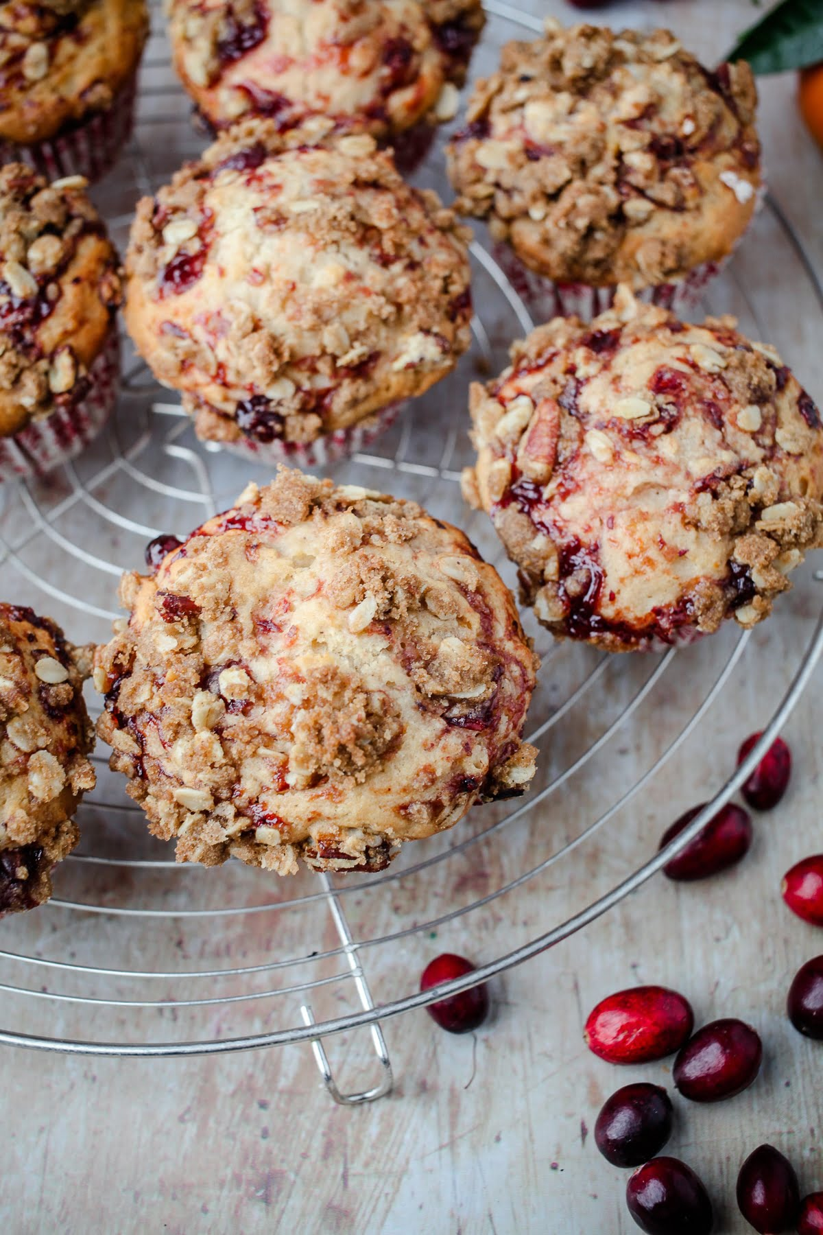 Vegan Leftover Cranberry Sauce Muffins with Streusel Topping