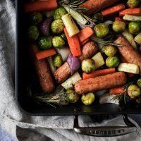 Vegan Christmas Veg & Sausage Traybake