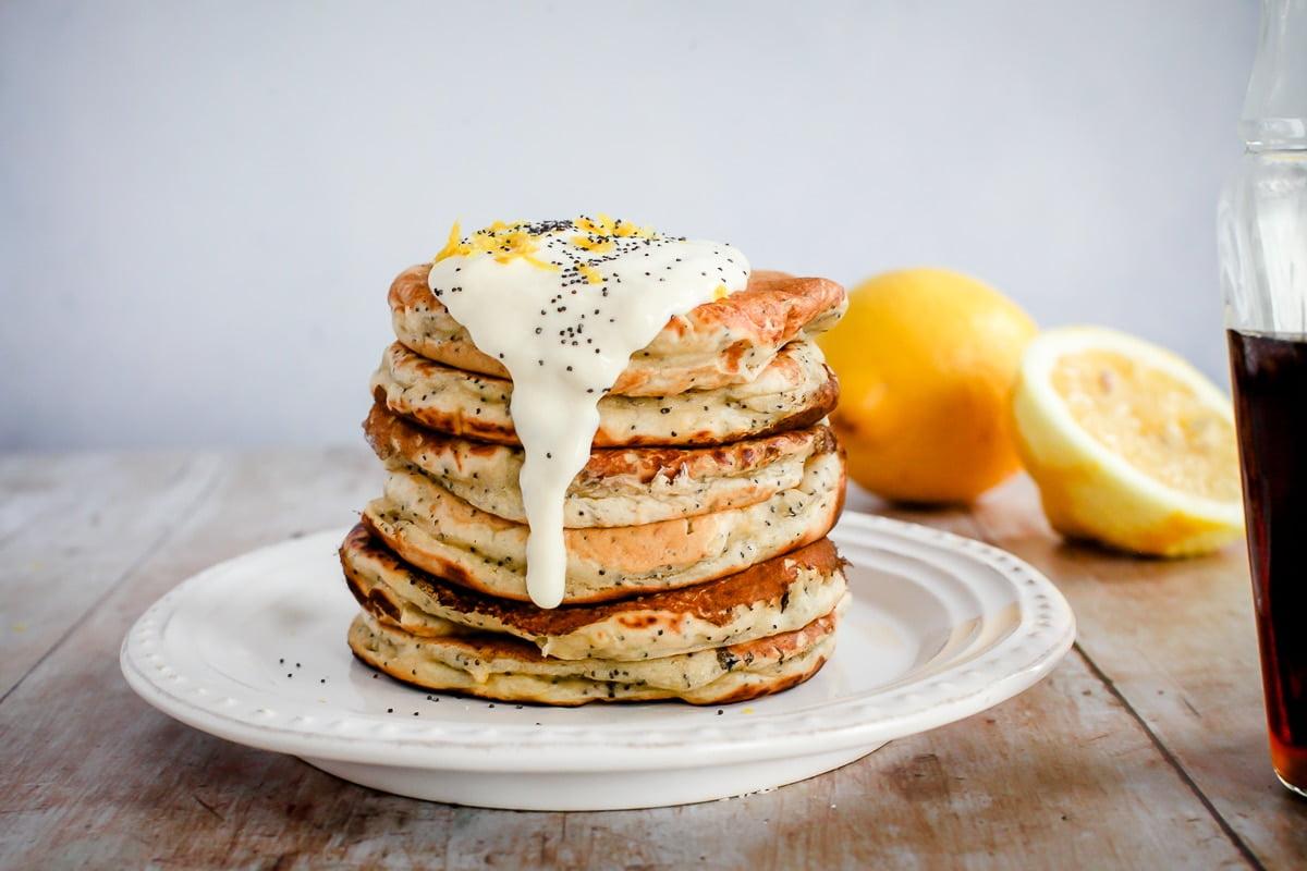 Lemon Poppy Seed Pancakes (Vegan)