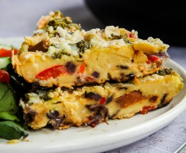 Vegan Cheezy Chorizo & Red Pepper Frittata