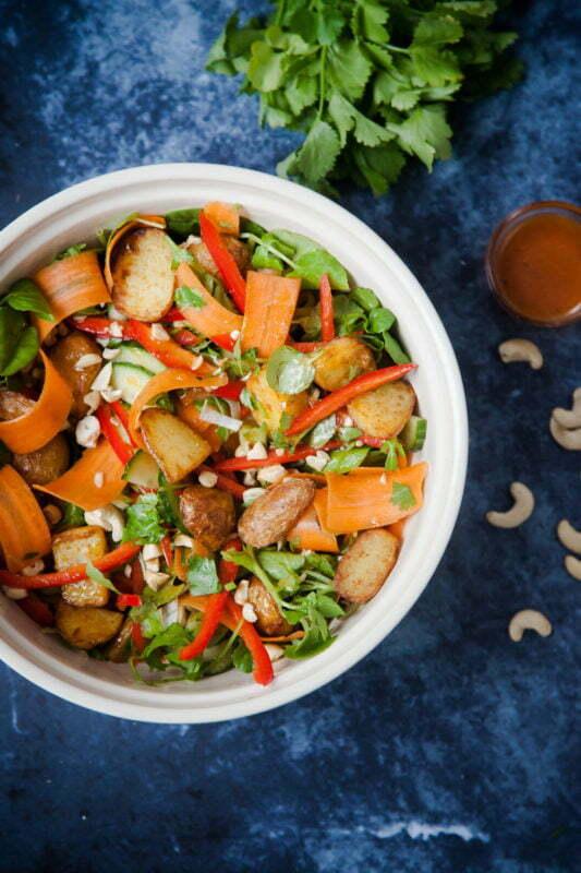 Crunchy Potato Salad with Mango Chutney Vinaigrette