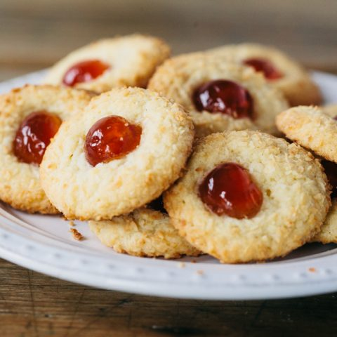 Easy Vegan Coconut Cherry Cookies (Melting Moments) Dairy-free Biscuits